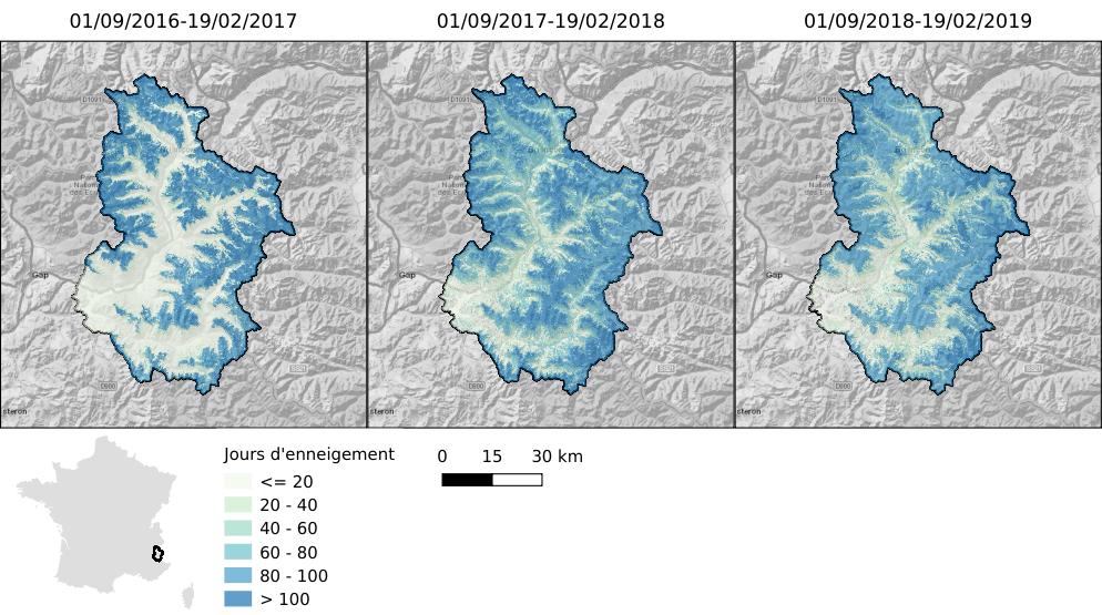 Durée de l'enneigement du 01 septembre au 19 février dans le bassin de la Durance à Serre-Ponçon