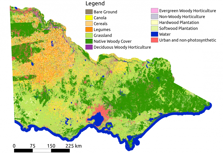 Land cover map of Victoria, Australia