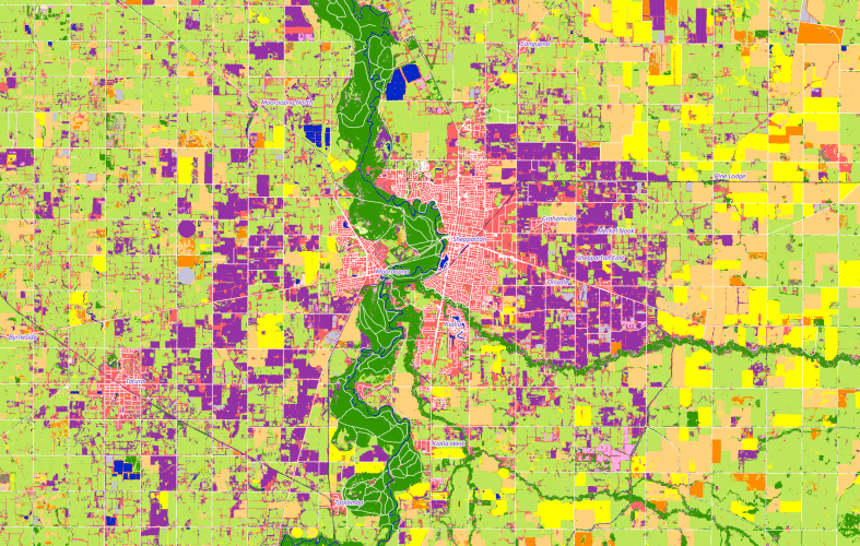 Land-cover map around Shepparton