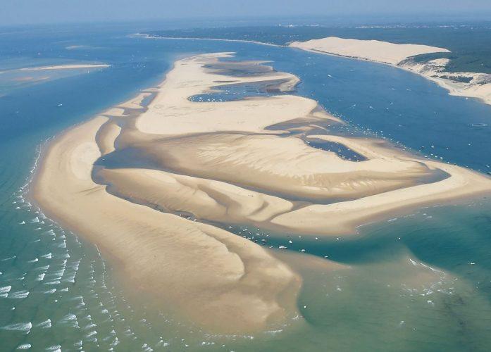 Le banc d'Arguin et la dune du Pilat vus d'avion